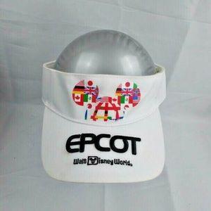 Epcot White Womens Mickey Ears Visor Hook and Loop